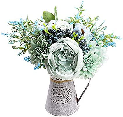 Relaxmate Artificial Flowers With Vase Flower Arrangements For Coffee Table Decor Decorations For Living Room Centerpieces For Dining Room Table Amazon Sg Home