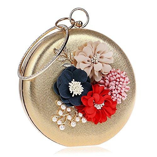 PLYY Borsa da sera in poliuretano con strass che borda il petalo di fiori per eventi/feste per il matrimonio. Ufficio formale formale e carriera per tutte le stagioni