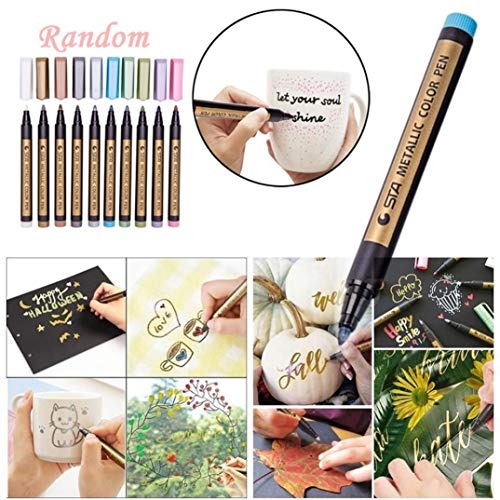 Metallic Marker Pens, Creazy 12 A2PC Metallic Markers Paints Pens Art Glass Paint Writing Markers DIY Card Making by Creazy (Image #1)