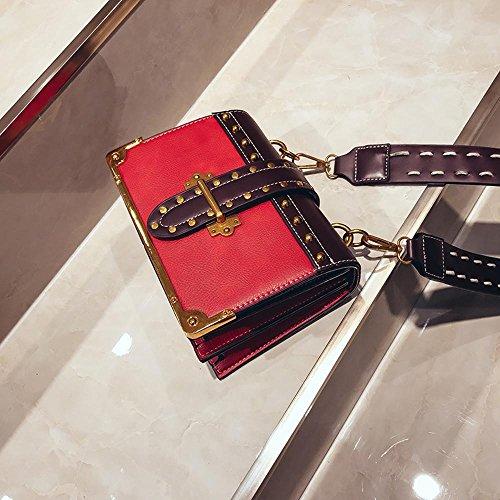 Aoligei Unité centrale large ceinture rétro petits bagages rivet épaule de Packet Baotan Dame ligne oblique B