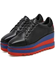 Bomba de zapatos de muñeca de talón de cuña de 8 cm 4 cm de espesor de la plataforma de las mujeres Simple dedo cuadrado de zapatos de cordón Shoelace zapatos ocasionales Eu Tamaño 34-39