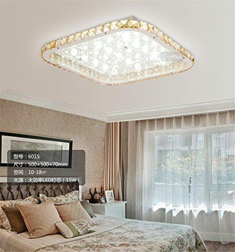Flat Slimline Panel (Yposion Slimline led Flat Panel Crystal Ceiling lamp lights rectangle in the living room atmosphere remote living room ceiling light modern minimalist ,500*500mm)
