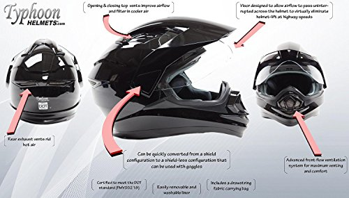 Dual Sport Helmet Combo w/Gloves - Off Road Motocross UTV ATV Motorcycle Enduro - Silver, Black - XXL by Typhoon Helmets (Image #1)