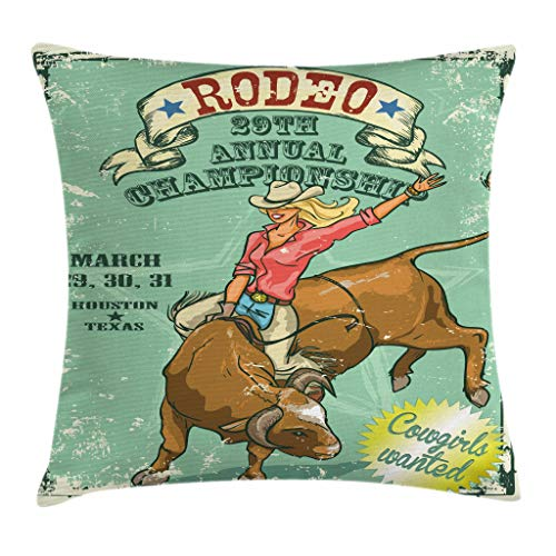 Ambesonne Retro Throw Pillow Cushion Cover by, Rodeo Cowgirl on the Bull Annual Championship Vintage Poster Pattern Grunge Design, Decorative Square Accent Pillow Case, 18 X 18 Inches, Multicolor