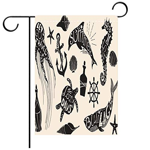 Graphic Delta Kit (BEICICI Double Sided Premium Garden Flag Hand Drawn Vector Illustration Marine kit Graphic Elements Decorative Deck, Patio, Porch, Balcony Backyard, Garden or Lawn)
