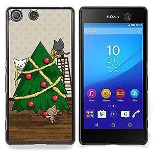 Christmas Holidays Cats Cute Drawing Caja protectora de pl??stico duro Dise?¡Àado King Case For Sony Xperia M5
