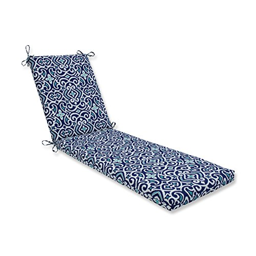Pillow Perfect Outdoor | Indoor New Damask Marine Chaise Lounge Cushion 80x23x3, 80 in. L X 23 in. W X 3 in. D,