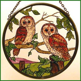 Decorative Hand Painted Stained Glass Window Sun Catcher/Roundel in a Barn Owls Design. BarnOwlsround