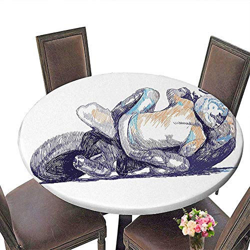 RoundTable Cloth for Foot Table in Washable Polyester(Elastic Edge) spill Proof and Waterproof, (36