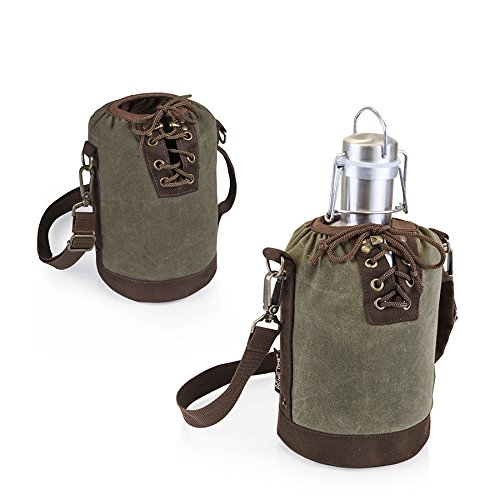 Picnic Time Stainless Steel Growler With Canvas Lace Up