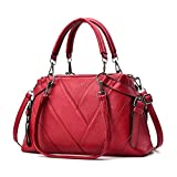 Chic-Dona Women Leather Bags Handbags Shoulder BagsWomen Tote Bag Ladies Handbag Red one size