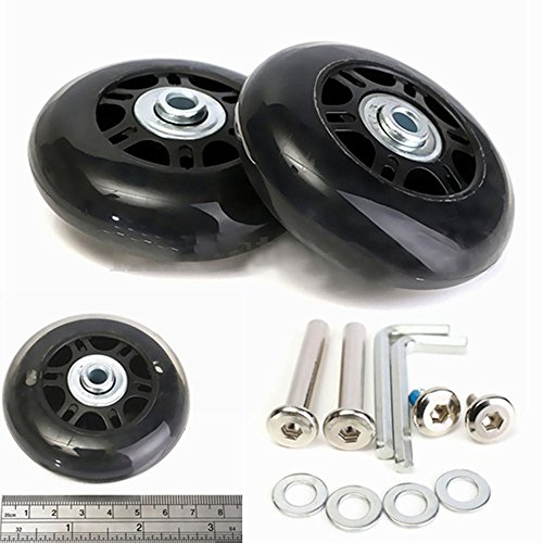 - FASTROHY 2 Set of Luggage Suitcase/Inline Outdoor Skate Replacement Wheels with Repair Kit Axles Deluxe Black (70mmx23mm)