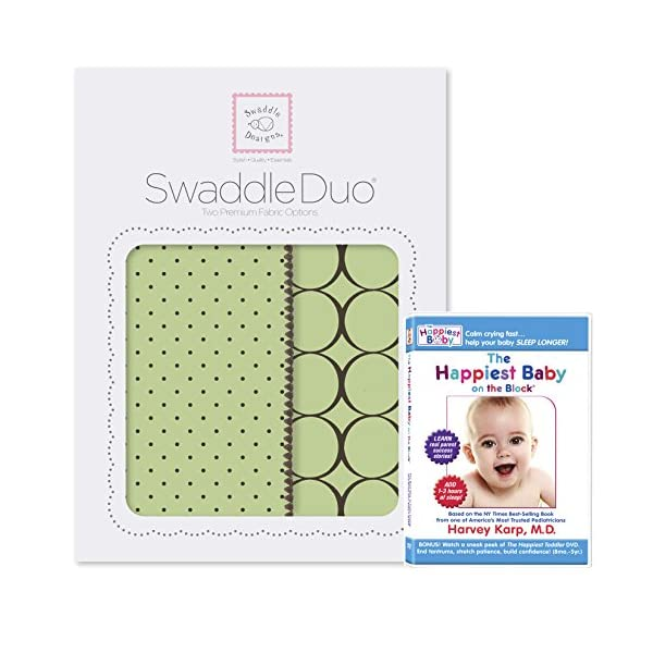 SwaddleDesigns SwaddleDuo, Set of 2 Swaddling Blankets + The Happiest Baby DVD Bundle, Lime Modern Duo
