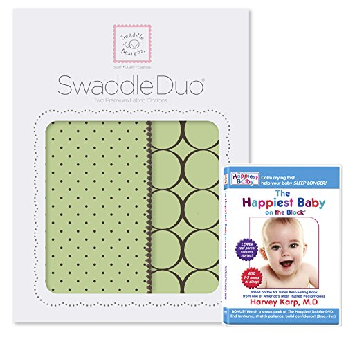 SwaddleDesigns SwaddleDuo, Set of 2 Swaddling Blankets, Cotton Muslin + Premium Cotton Flannel, and The Happiest Baby DVD Bundle, Lime Modern Duo Count Flannel Receiving Blankets