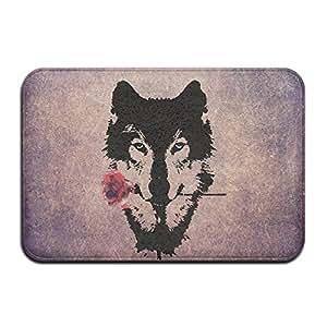 Personalizada de interior o al aire libre Felpudo–Lobo Y Rose cabeza arte cocina Felpudo alfombrilla de baño, antideslizante y delgado diseño, tamaño 40x 60cm