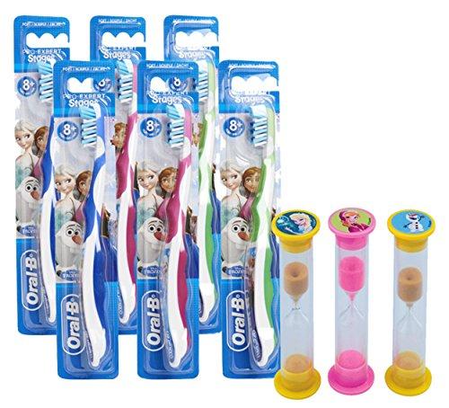Disney Frozen 9pc Bright Smile Oral Hygiene Set! Kids Soft Manual Toothbrush 6 Pack! Plus Bonus Disney Frozen Brushing Timers Featuring Elsa, Anna & Olaf!