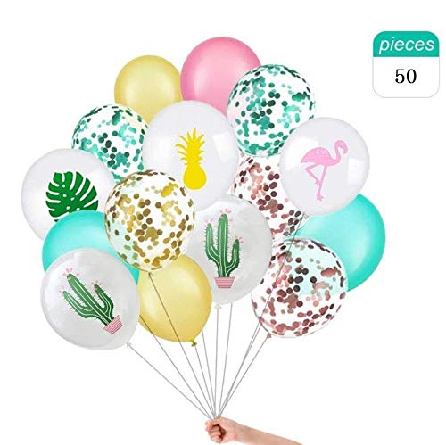 (Hawaiian Tropical Party Balloons Decoration, 50Pcs 12 Inches Flamingo Tropical Leaf Pineapple Balloons Confetti Metallic Balloons for Hawaii Luau Bachelorette Wedding Birthday Party Decorations)