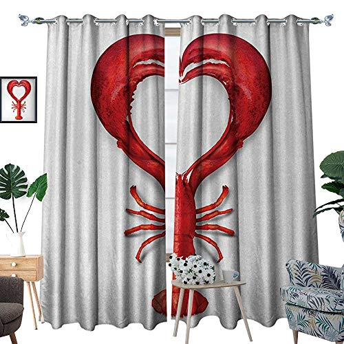 Sea Animals Thermal Insulating Blackout Curtain A Boiled Lobster Shaped as A Heart Symbol Seafood Love Valentines Restaurant Menu Art Patterned Drape for Glass Door W120 x L96 Red