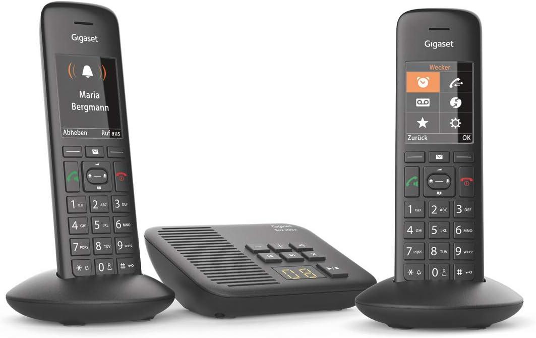 Gigaset C570A Duo - Teléfono (Teléfono DECT, Terminal inalámbrico, Altavoz, 200 entradas, Identificador de Llamadas, Negro)