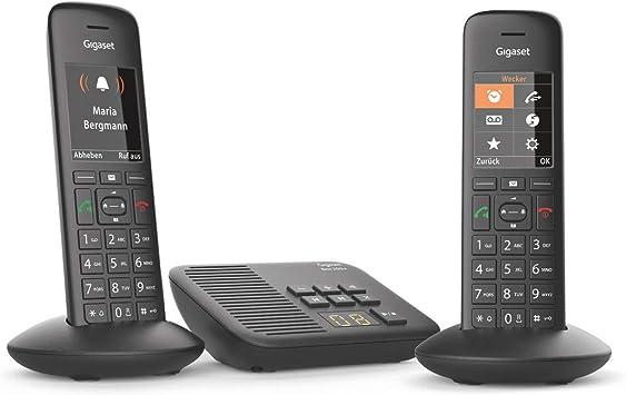 Gigaset C570A Duo - Teléfono (Teléfono DECT, Terminal inalámbrico, Altavoz, 200 entradas, Identificador de Llamadas, Negro): Amazon.es: Electrónica