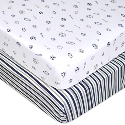 American Baby Company 2 Pack Printed 100% Natural Cotton Jersey Knit Fitted Portable/Mini-Crib Sheet, Navy/Grey Stripes/Sports, Soft Breathable, for -