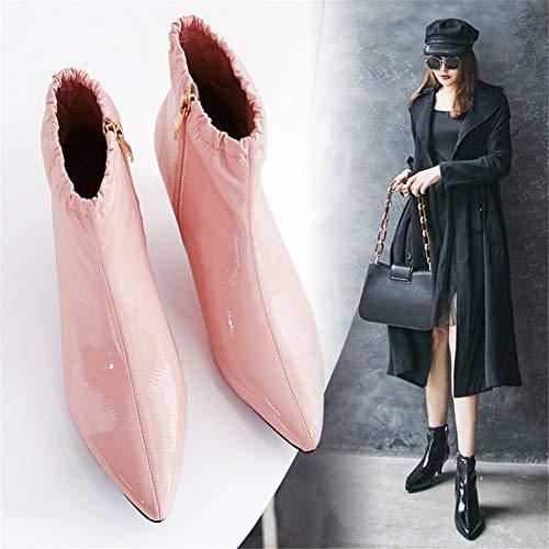de de Moda Botas de Botas vacías Tobillo Mujer de Zapatos de Europea Inglaterra de de tacón de Botas Aguja Piel TSNMNB Acentuados estación con z71xP