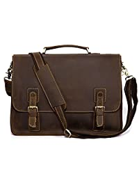"Kattee Vintage Genuine Leather Briefcase Messenger Bag, Fit 16"" Laptop"