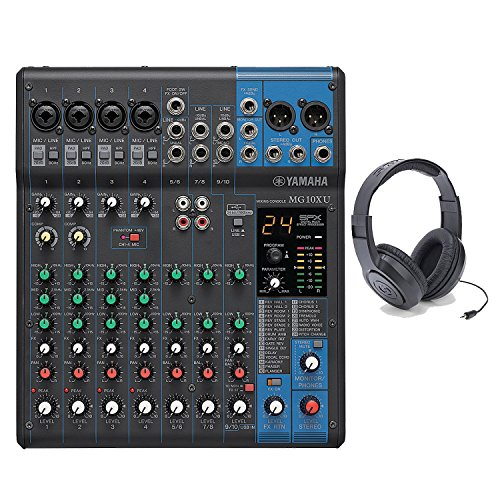 Yamaha MG10XU 10-Input Stereo Mixer With Samson SR350 Open-Ear Stereo Headphones -