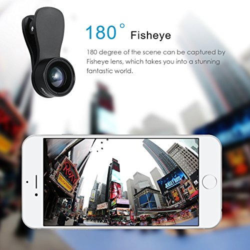 AMIR Phone Camera Lens, 180° Fisheye Lens + 25X Macro Lens + 0.36X Wide Angle Lens, Clip-On 3 IN 1 Cell Phone Camera Lens for iPhone 7/8 / X / 7 PLUS / 6, Samsung, Other Smartphones by AMIR (Image #3)