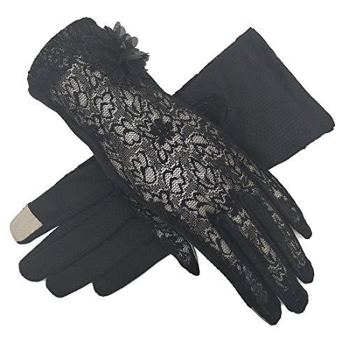 Women's Bridal Wedding Lace Gloves Derby Tea Party Gloves Victorian Gothic Costumes Gloves (Flower Black)