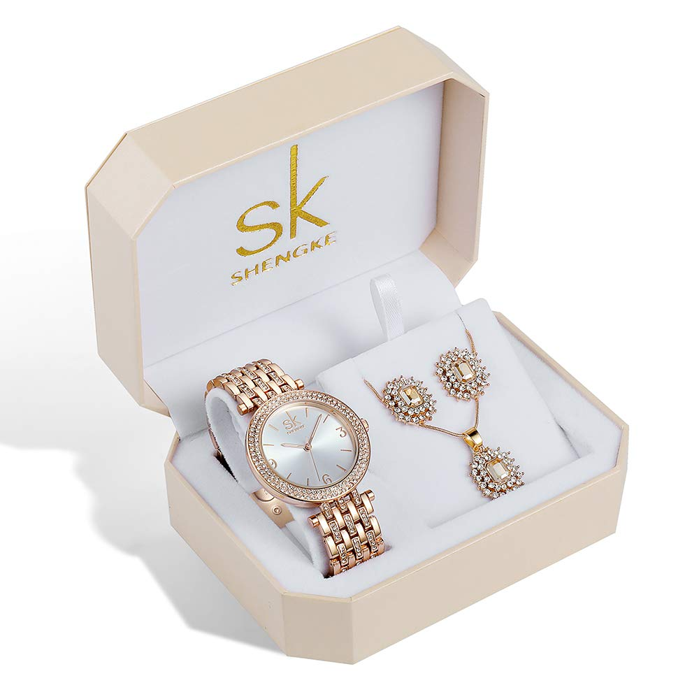 Women Quartz Wrist Watches with Rose Gold Earring and Necklace 3 Sets for Christmas Gifts (0011 Set)