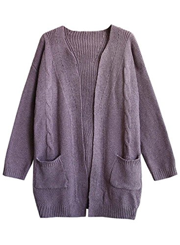 L Tricots Femme Cardigan Veste Pockets Offener Automne Hiver Tricots Knit Chaud Futurino Violet ssige Hiver Manteau XqOdqY