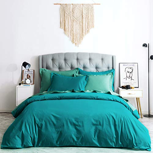 SUSYBAO 2 Pieces Duvet Cover Set 100% Natural Cotton Twin/Single Size Aqua Blue Bedding Set with Hidden Zipper Ties 1 Solid Duvet Cover 1 Pillow Sham Hotel Quality Soft Breathable Fade Resistant (Cover Twin Duvet Turquoise Set)