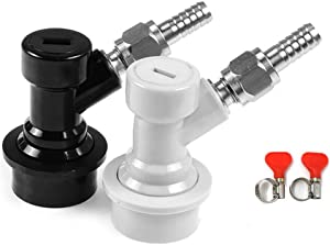 OneBom Ball Lock Disconnect, Gas & Liquid Corny Keg Fittings, MFL 1/4'' Threaded with 5/16'' Stainless Steel Barbed & Hose Clamp (Ball Lock Kit)