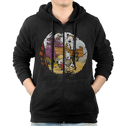 [SFG Men's Calvin And Hobbes Mountain Climbing Funny Hoodie Hoodies Casual Style XXL Black] (Calvin And Hobbes Couple Costume)