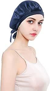 ALLYAOFA 100% Mulberry Silk Night Sleep Cap, Sleeping Cap for Women Head Cover Bonnet for Hair Beauty With Elastic Band for Sleep, Hair Loss, Hair Protection (Blue)
