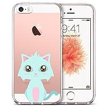 Qissy iPhone5s Case, iPhone5 Case Dolphin Dog Elephant Giraffe Polar Bear Snowman Flower Clear Design Transparent TPU Cover for iPhone SE/5/5S