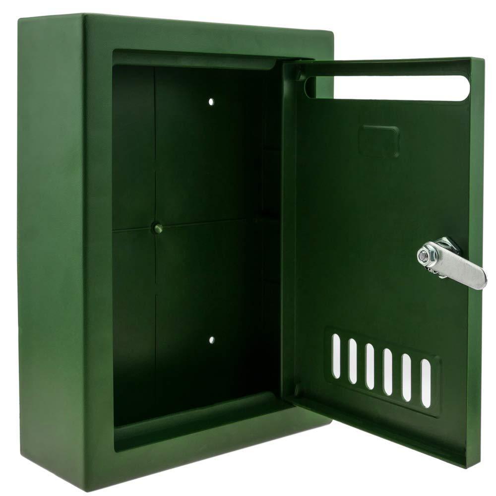 Bo/îte aux Lettres en Plastique color/é Vert pour Mur 205x80x273mm PrimeMatik