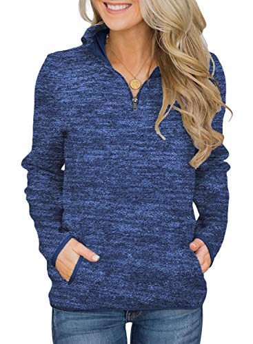 (AlvaQ Women 1/4 Zip Sweatshirt Long Sleeve Fleece Pullover Tops Jackets with KangarooPocket Plus Size Blue Large)
