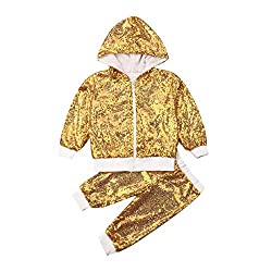 Gold Sequin Hooded Long Sleeve Zip Sweatshirt & Pants Set