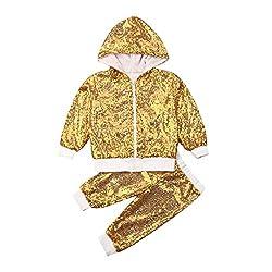 Gold Sequin Hooded Long Sleeve Zip Sweatshirt & Pants Set