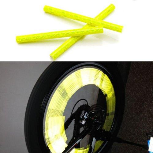 12pcs Bicycle Wheel Reflective Warning Strip (yellow) - 9