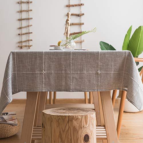 Plenmor - Mantel de lino y algodon resistente para mesas rectangulares con bordado solido para decoracion de mesa de cocina o comedor, Gris, 135x180 cm