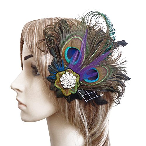 CHUANGLI 1920s Gatsby Roaring 20s Flapper Headband Peacock Feather Alligator Clip ()