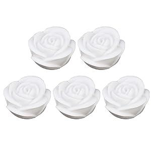 Uonlytech 5 Pcs Flameless Candle Flower Night Light LED Tea Lights Waterproof Floating Rose for Pool Garden Fish Tank Wedding Party Decor White