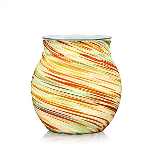 COOSA Colorful Glass Electric Oil Warmer or Candle Wax Tart Burner Incense Oil Warmer Fragrance Warmer Night Light Aroma Decorative Lamp for Gifts & Decorfor Suit for Home Office Bedroom Living Room by COOSA