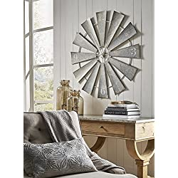 Imax 47608 Ward Metal Windmill Wall Clock - Round Wall Clock in Grey, Arabic Numerals, Vintage Inspired Oversized Analogue Clock. Modern Wall Clocks