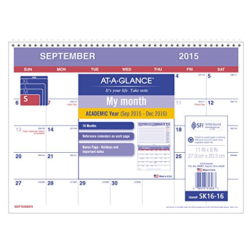 AT-A-GLANCE Monthly Desk and Wall Calendar, Academic Year, 16 Months, September 2015–December 2016, 11 x 8 Inch Page Size (SK16-16) Academic 16 Month Wall