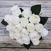 Panrot Artificial Dried Flowers - 18heads Artificial Silk Rose Flowers Bouquet Decorative Wedding Xmas Party Bridal Fake Flores Fleur - Lys Poinsettias Fleur Royall Fowers Fanci D39;eau Brid Cosmete C