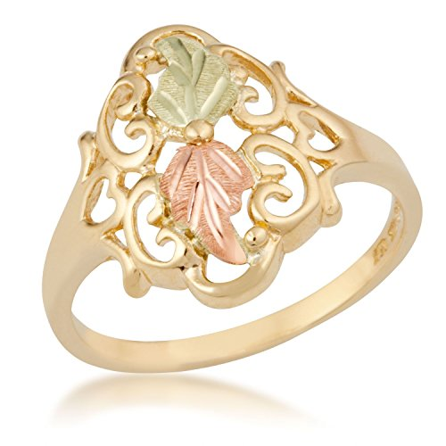 Vintage Rings with Hearts, 10k Yellow Gold, 12k Green and Rose Gold Black Hills Gold Motif, Size 9